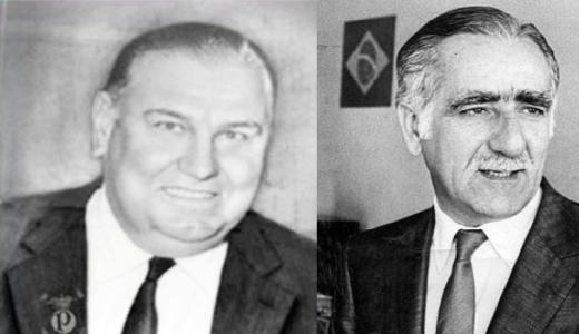 Delffino (dir) e Wadih Helu (esq) presidentes de palmeiras e Corinthians à época