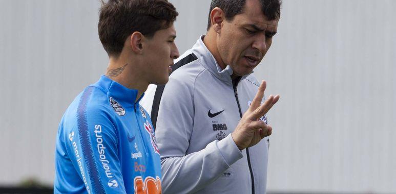 Fabio Carille - Mateus Vital - Treino do Corinthians